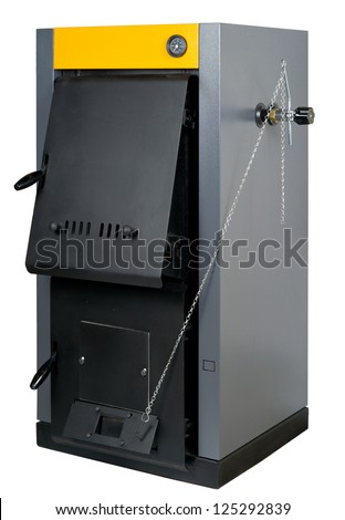 A residential furnace, burns firewood or coal and makes warm air, isolated on white - stock photo
