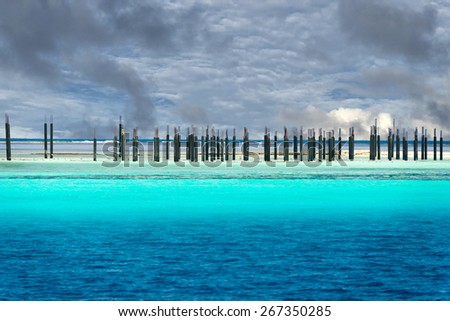A resort in maldives tropical paradise  - stock photo
