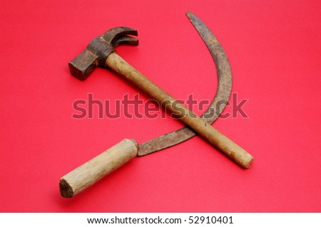 a respresentation of hammer and sickle symbol - stock photo