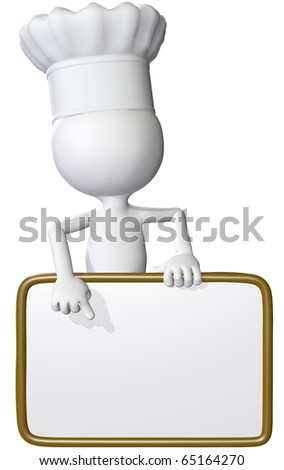 A restaurant chef or food cook points at copy space on a sign as a menu or daily special list. - stock photo