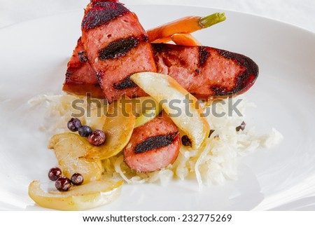 A restaurant dish of Creole Choucroute Garnie - stock photo