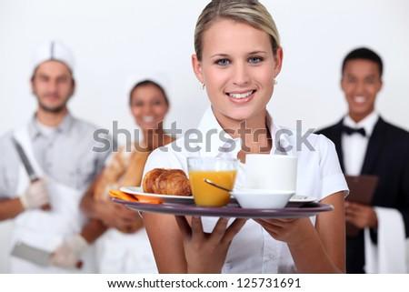 A restaurant staff. - stock photo