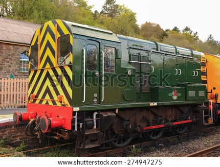 A Restored 1962 Diesel Shunting Train Engine (Class 08) at Okehampton Station on Dartmoor, Devon, England, UK - stock photo