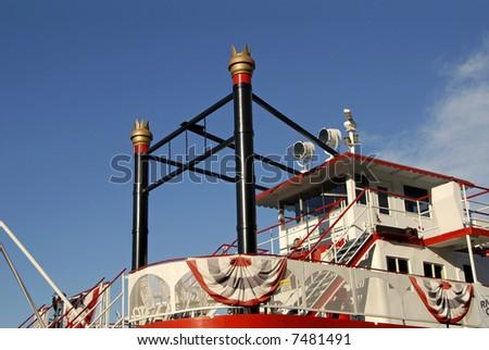 A restored vintage riverboat in Savannah, GA. - stock photo