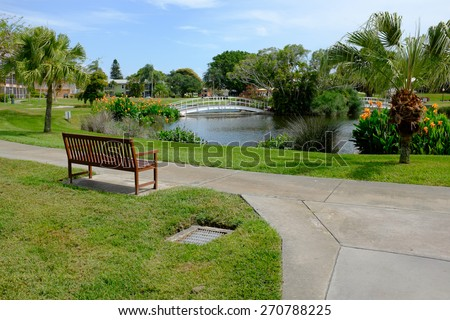 A retirement village park in Southwest Florida. - stock photo