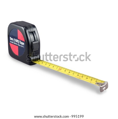 A retractable tape measure slightly extended - stock photo