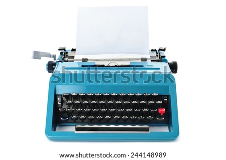 a retro blue typewriter with a blank paper on a white background - stock photo