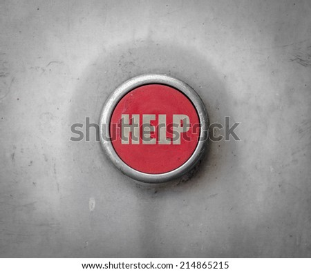 A Retro Filtered Image Of An Industrial Style Red Help Button - stock photo