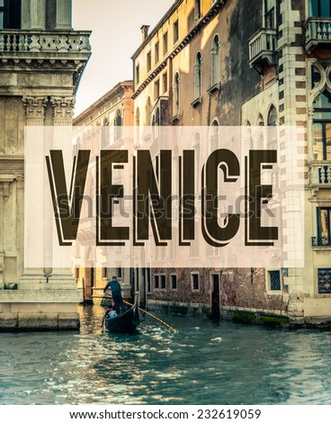 A Retro Style Poster For Venice Italy With A Gondola In The Grand Canal - stock photo