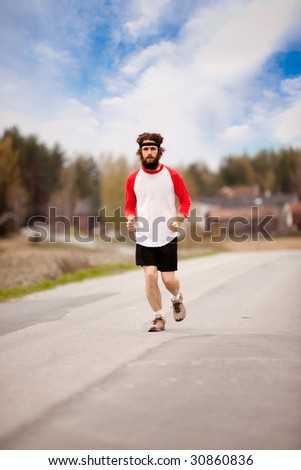 A retro style running in the country on a road