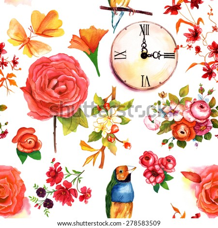 A retro styled seamless background pattern with vintage roses and other flowers, a finch, a clock and butterflies - stock photo