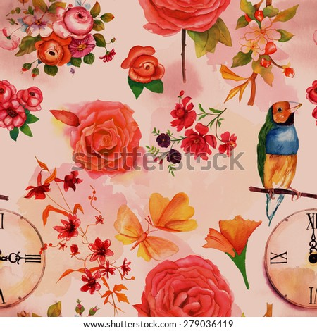 A retro styled seamless background pattern with vintage roses and other flowers, a finch, a clock and butterflies, sepia toned - stock photo