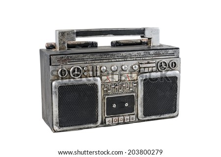 A retro tape recorder on the white background - stock photo