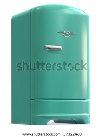A retro turquoise colored refrigerator door closed on white. - stock photo