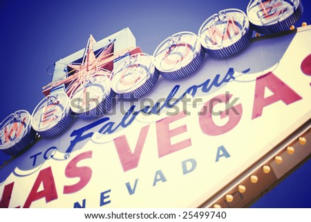 a retro version of the las vegas welcome sign from las vegas, nevada - stock photo