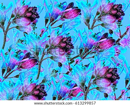 A Retro Vintage Flower Wallpaper Design In Shades Of Blue And Purple
