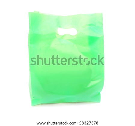 A Reused green bag - stock photo