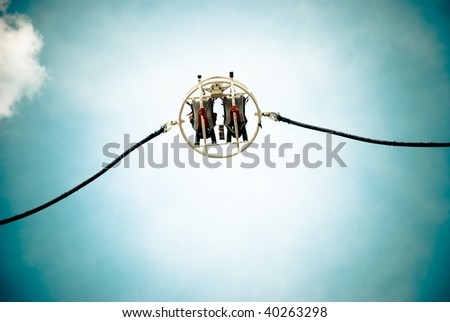 A reverse Bungee in Paris - stock photo