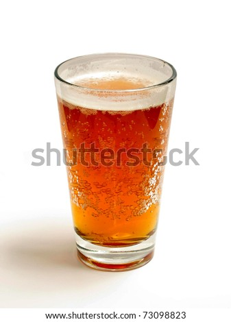 A rich amber glass of beer with bubbles - stock photo