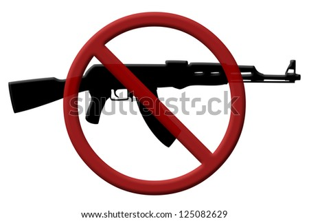 A rifle and a Not Allowed Symbol, Ban on assault rifles - stock photo