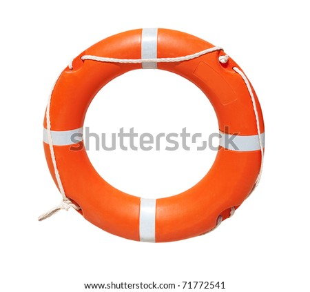 A ring-buoy, isolated on white background - stock photo