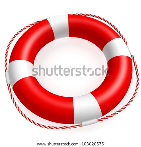 A ring buoy isolated on white background. Computer generated image with clipping path. - stock photo