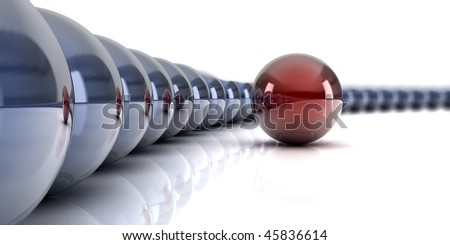 A ring of blue with one red ball, conceptual for teamwork, totherness - stock photo
