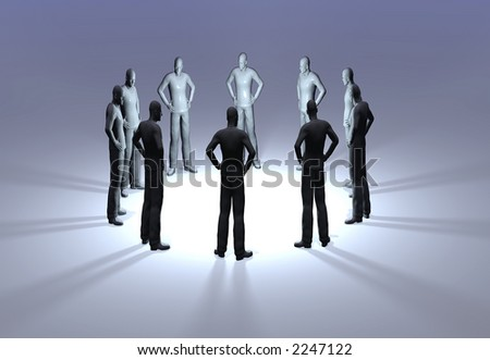 A ring of mannequins in a discussion circle - stock photo