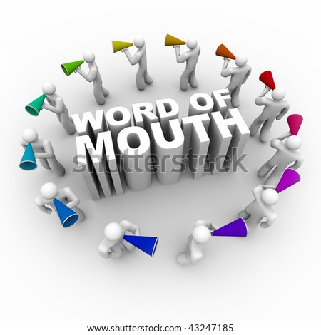 A ring of people carrying bullhorns around the phrase Word of Mouth - stock photo