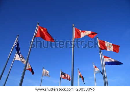 A ring of world flags from various countries. - stock photo