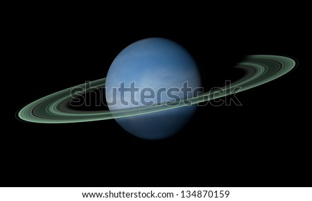 A ringed planet beyond our solar system. Isolated on black. Elements of this image furnished by NASA.