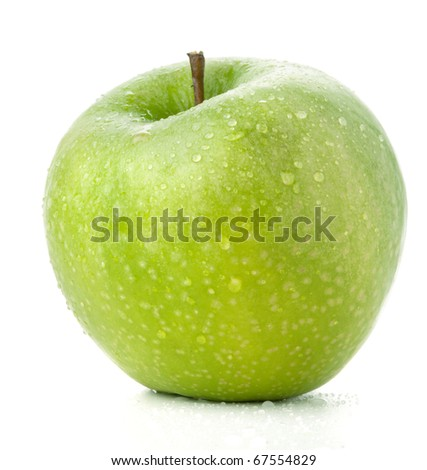 A ripe green apple. Isolated on white - stock photo