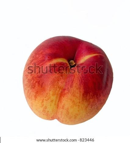 A ripe nectarine isolated on white - stock photo