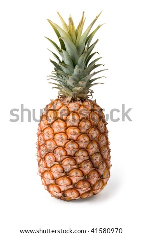 A ripe pineapple on a white background