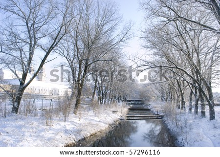 A river in winter - stock photo