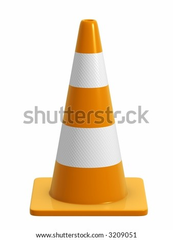A road cone with reflective bands. Design component. *Direct side view version* - stock photo