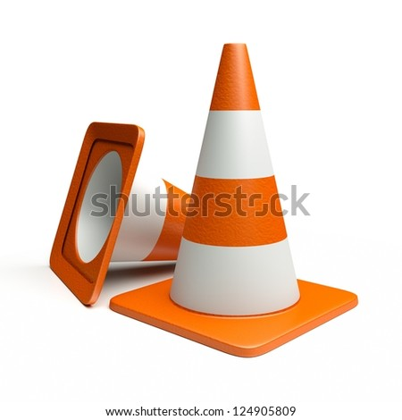 a road cones ioslated on white - stock photo