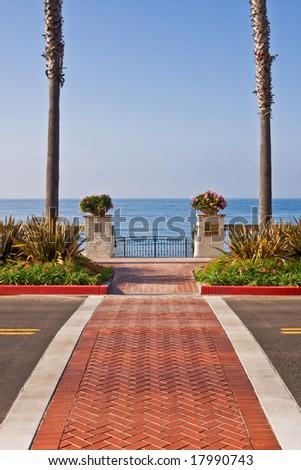 A road crosswalk to a public beach in central California. - stock photo