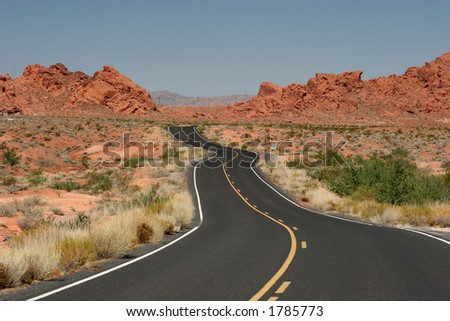 A road goes into Valley of Fire, Nevada