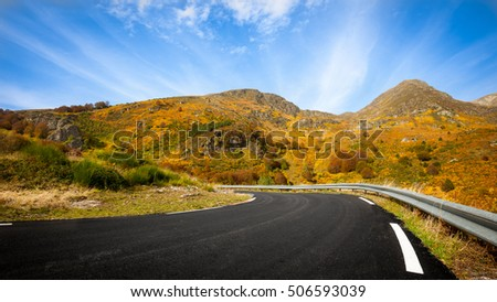 A road in fall. A weekend escape in fall on mountains of Pyrenees.