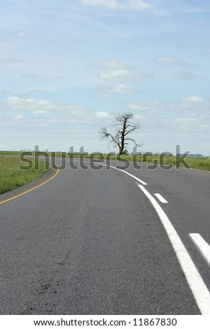 A road in the countryside and a blue sky