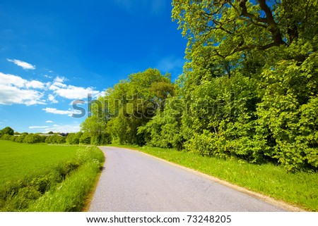 A road in the countryside - spring and early summer - stock photo