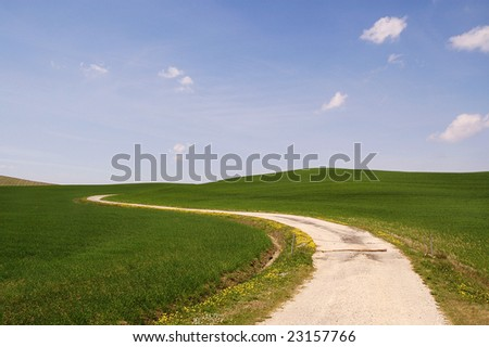 a road in the shining italian country - stock photo