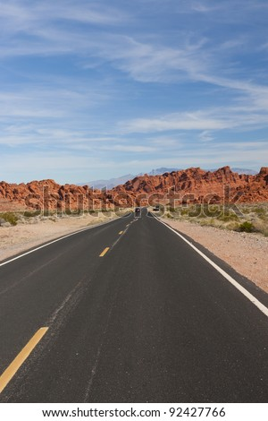 A road  into Valley of Fire State Park, Nevada, USA