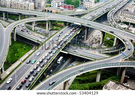 A road junction at Hangzhou - stock photo