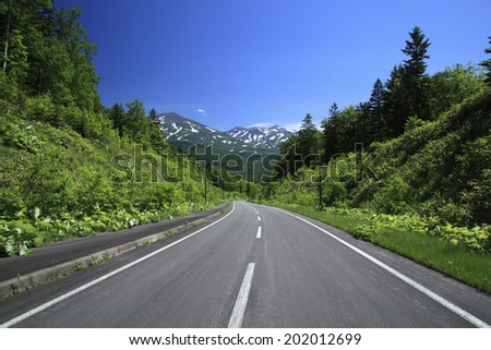 A Road Leading To A Mountain - stock photo