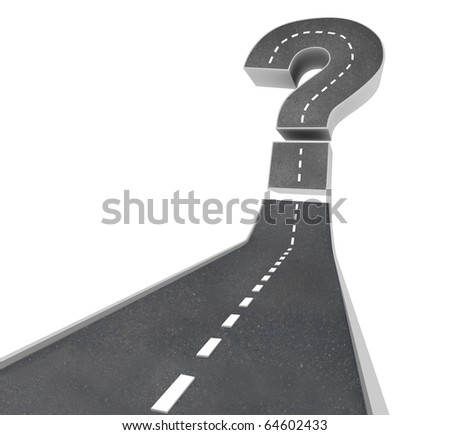 A road leading to a question mark symbolizing uncertainty and doubt - stock photo