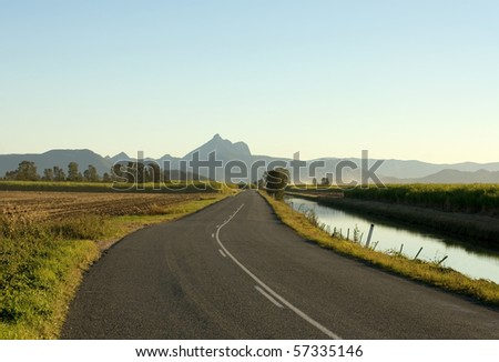 A road leading to Mount Warning, Northern New South Wales, Australia - stock photo