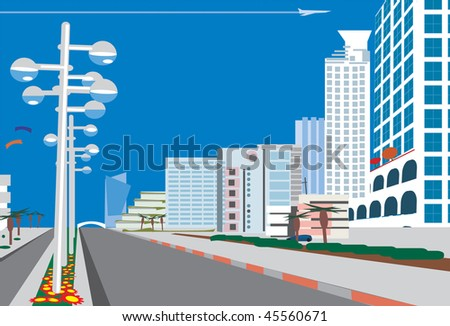 a road leads to a blue  city - stock photo