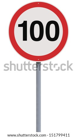 A road sign indicating a 100 speed limit